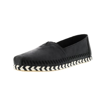Toms Girls Shoes (Toms Women's Classic Leather Rope Sole Black Ankle-High Slip-On Shoes -)
