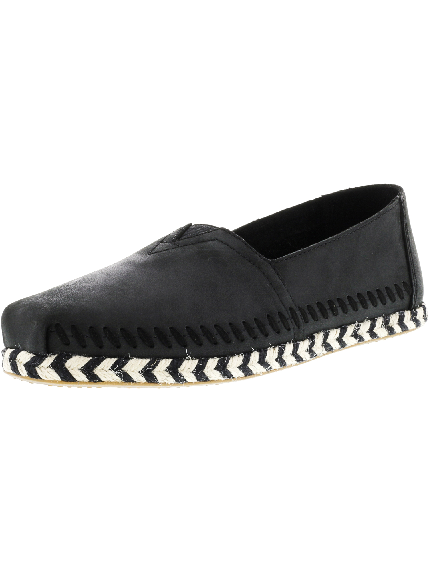 Toms Women's Classic Leather Rope Sole Black Ankle-High Slip-On Shoes - 6.5M
