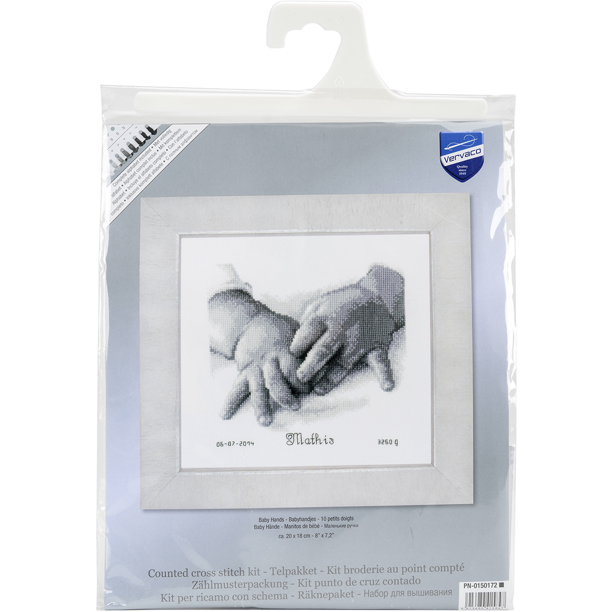 """Baby Hands Birth Record On Aida Counted Cross Stitch Kit-8""""X7"""" 18 Count"""