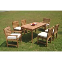 """Grade-A Teak Dining Set: 6 Seater 7 Pc: 71"""" Rectangle Table And 6 Devon Chairs (2 Arm & 4 Armless Chairs) Outdoor Patio WholesaleTeak #WMDV34"""