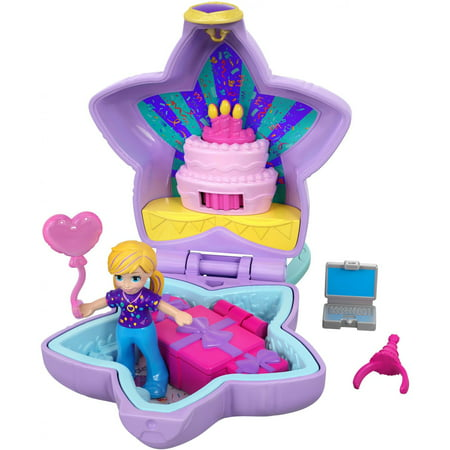 Polly Pocket Tiny Pocket Places Birthday Compact, Doll & Accessories