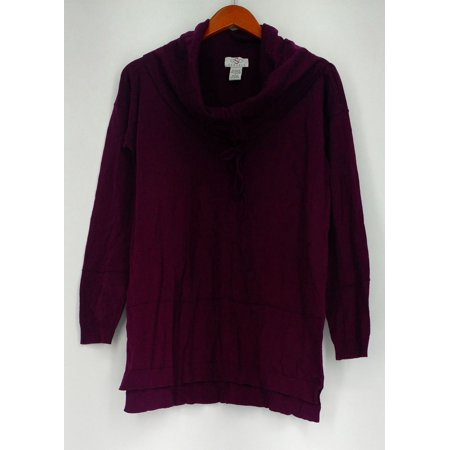 OSO Casuals Sweater S Fine Gauge Cotton Knit Cinched Cowl Neck Purple A414503