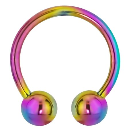 16g 10mm 316L Surgical Steel IP Plated Rainbow Horseshoe Ring with 4mm Balls
