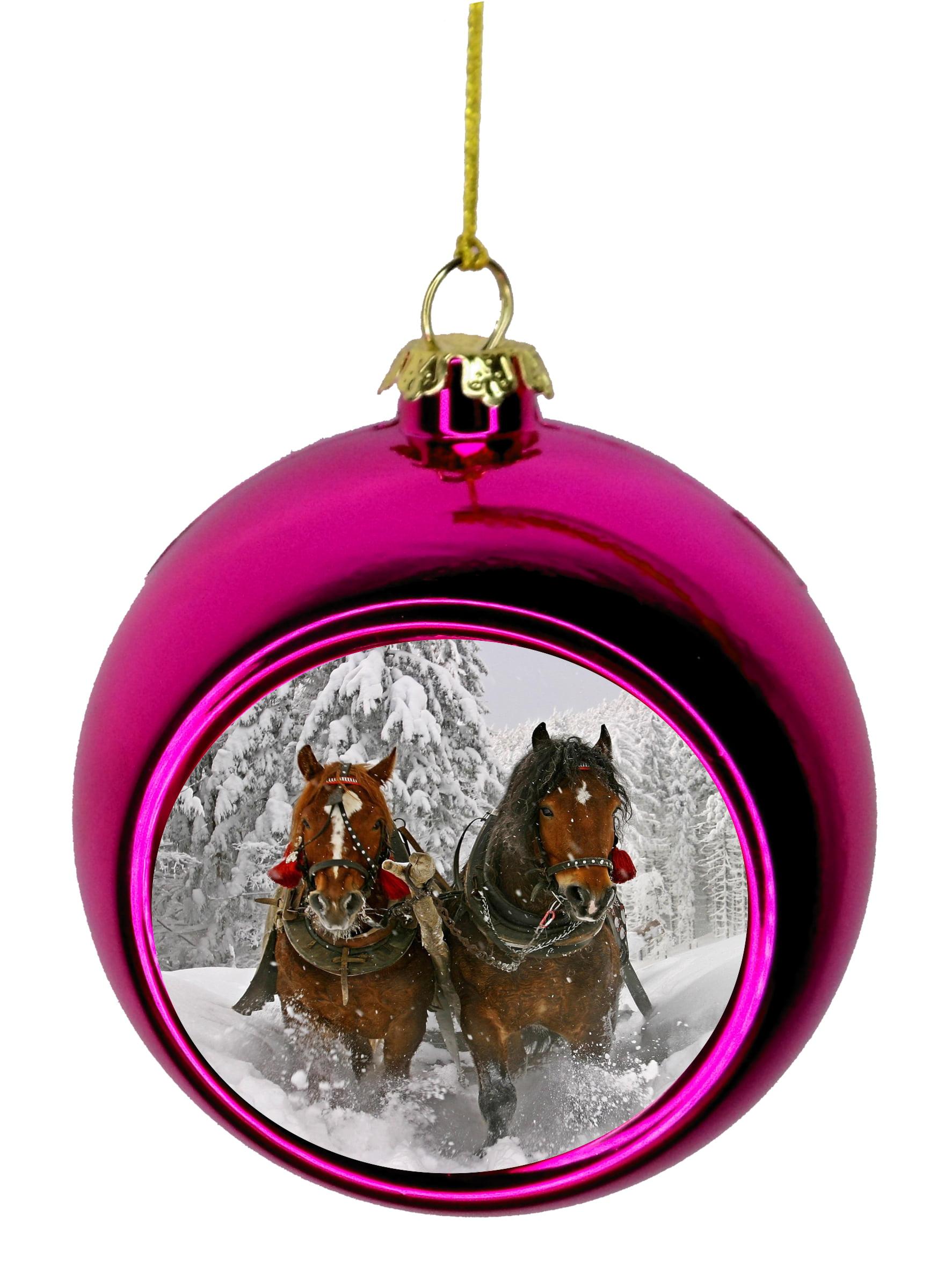 Personalised Horse Christmas Tree DecorationHorseshoe Xmas Bauble Gift