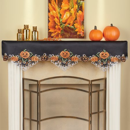 Collections Etc Halloween Pumpkins Mantle Scarf for Livingroom, Embroidered Festive Party Indoor Decorations
