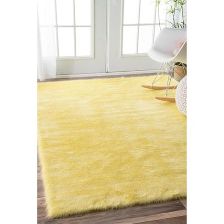 Nuloom Cozy Soft And Plush Faux Sheepskin Kids Nursery Yellow Rug 5 X