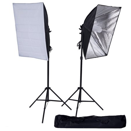 BalsaCircle Black / Silver Photography Video Studio Umbrella Continuous Lighting Kit - Portarit Photo Shooting Production Equipment