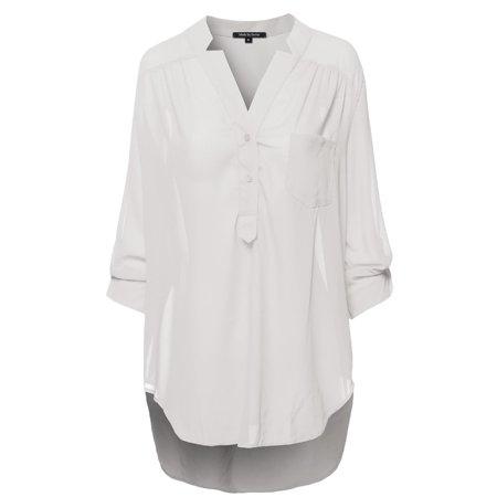 145e7106 FashionOutfit - FashionOutfit Women's Henley Neck w/ Pocket 3/4 Sleeve Sheer  Blouse Top - Walmart.com
