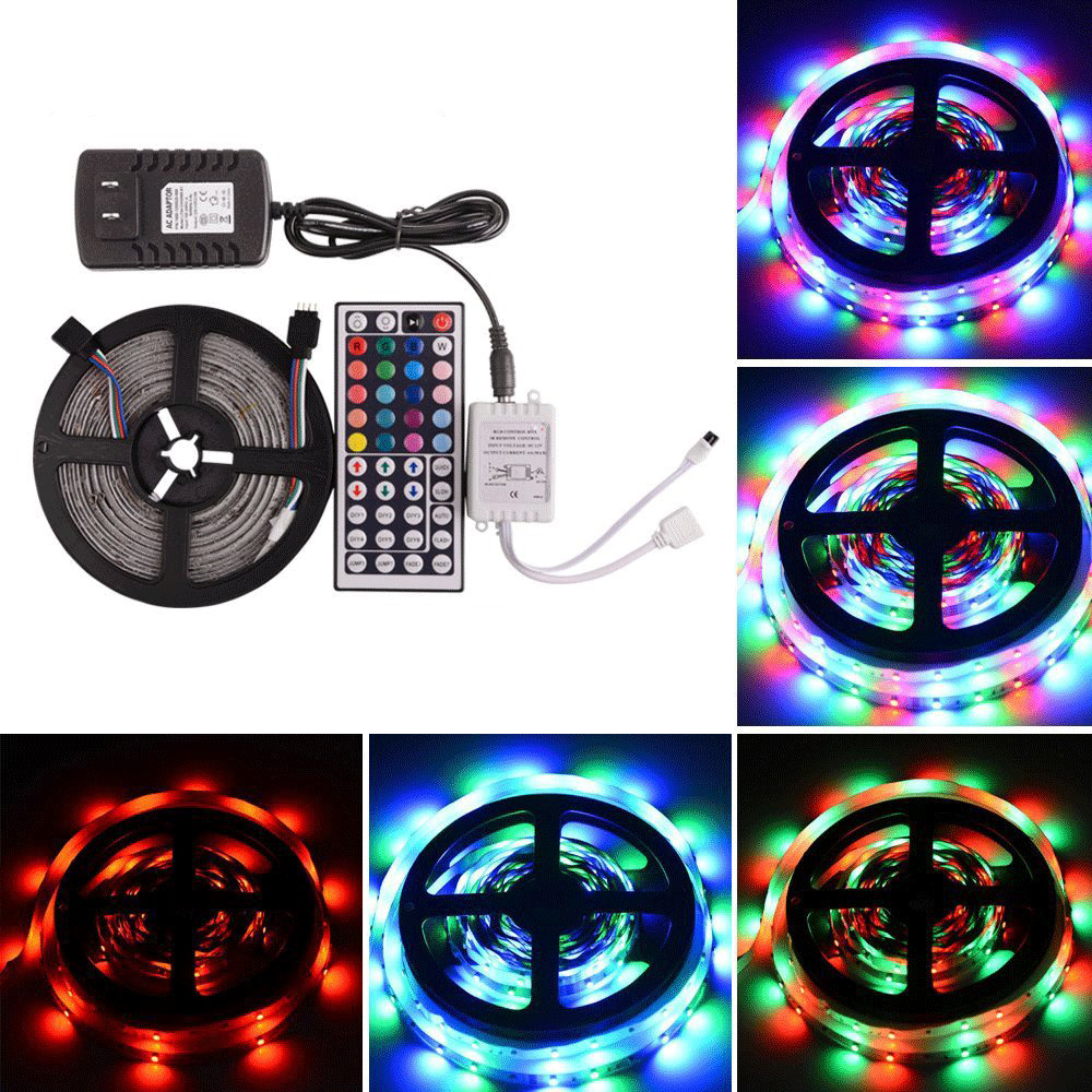 5M 16.4 Ft Waterproof 3528 300LED RGB Color Changing Kit with Flexible Strip Light+44 Key IR Remote Control+ 2A 12V Power Supply