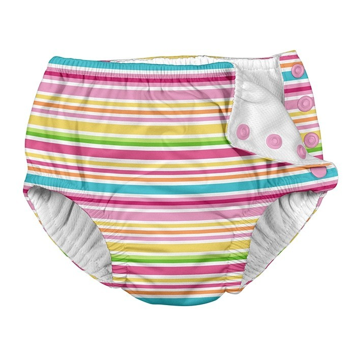 Snap Reusable Absorbent Swimsuit Diaper-Pink Ministripe - 6mo