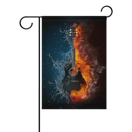 POPCreation Electric Guitar Fire And Water Background Polyester Garden Flag Outdoor Flag Home Party Garden Decor 28x40 inches (Electric Guitar Flat)