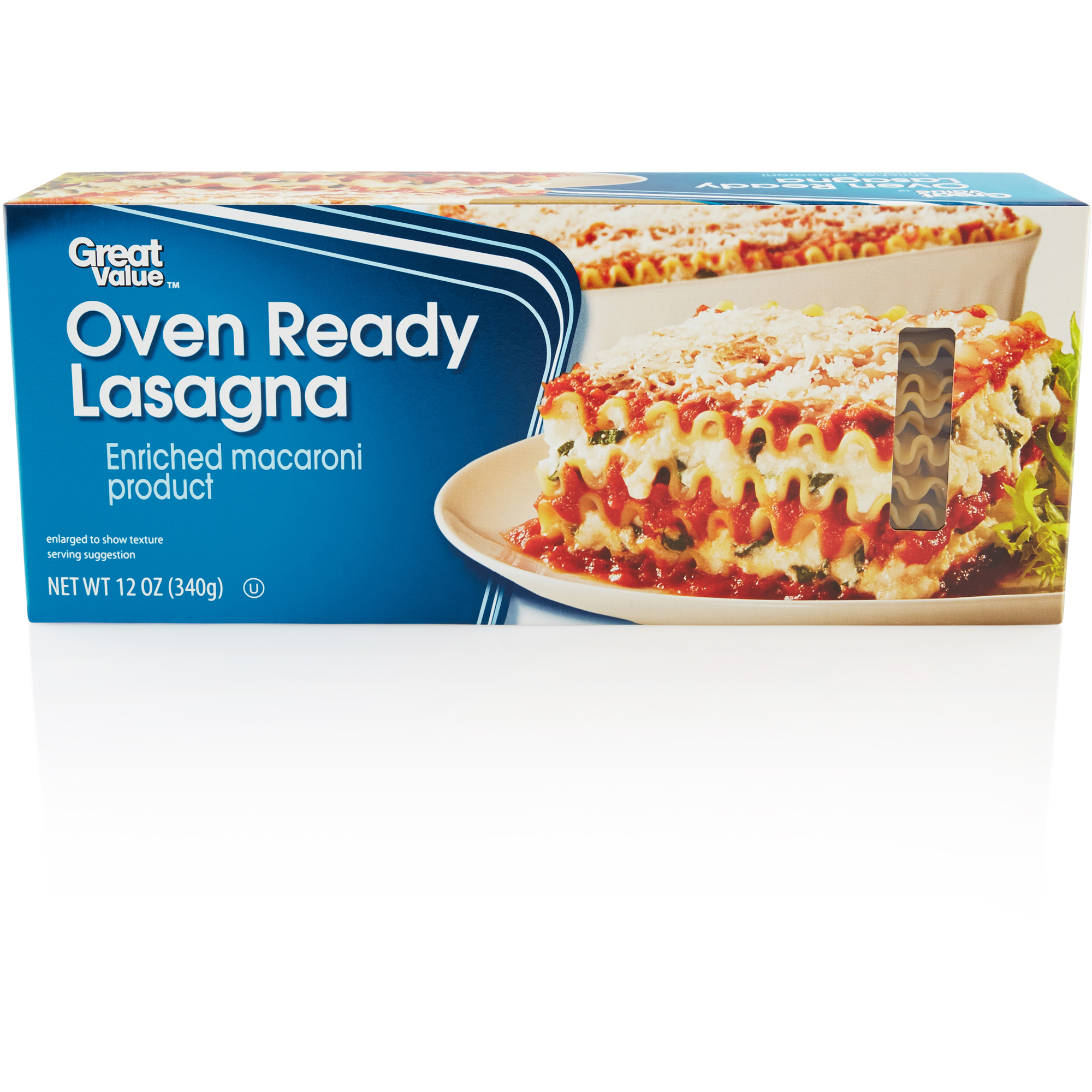 Great Value Oven Ready Lasagna Pasta Enriched Macaroni Product, 12 Oz