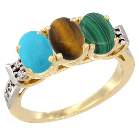 14K Yellow Gold Natural Turquoise, Tiger Eye & Malachite Ring 3-Stone Oval 7x5 mm Diamond Accent, sizes 5 - (Turquoise Malachite)