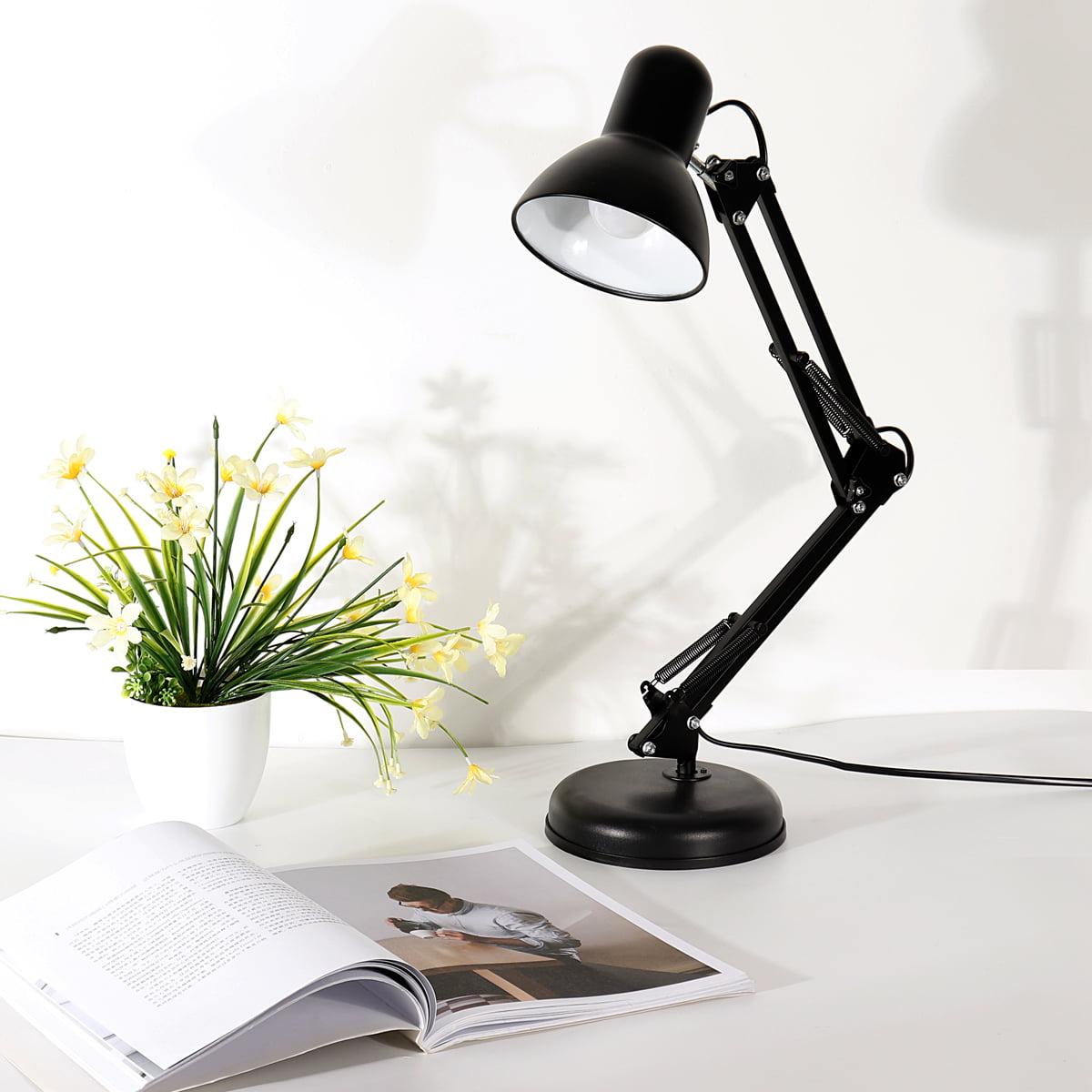 Image of: 2 In 1 Black Modern Metal Desk Swing Arm Clamp Light Folding Table Lamp Table Clip For Home Office Walmart Com Walmart Com