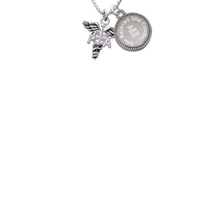 Silvertone Caduceus - PTA She Believed She Could So She Did Engraved Necklace (Believe Jewelry)