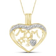 White Diamond Accent 14kt Gold-Plated Mom Heart Pendant, 18