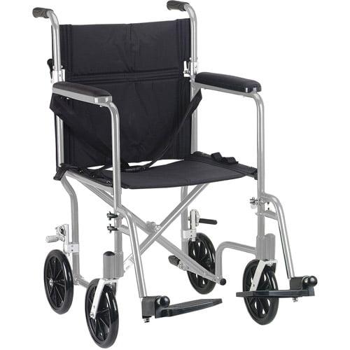 "Drive Medical Flyweight Lightweight Folding Transport Wheelchair, 17"", Silver Frame, Black Upholstery"