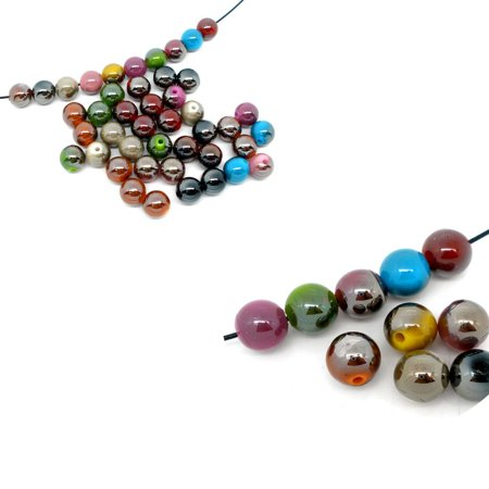Mixed Acrylic Round Luster Spacer, Loose Beads, 10mm, 180 Pack (1.5mm Hole)