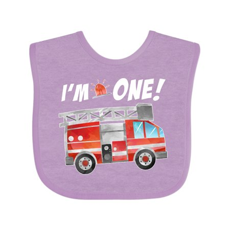 Inktastic I'm 1 Fire Truck 1st Birthday Infant Bib Unisex Lavender
