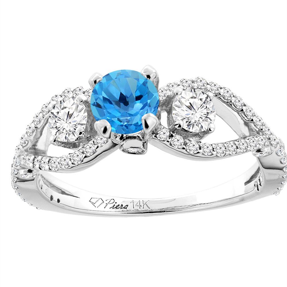 14K White Gold Natural Swiss Blue Topaz & Diamond Ring Round 6 mm, size 5 by Gabriella Gold
