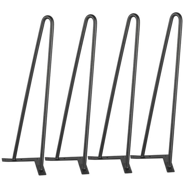Yaheetech 16'' Heavy Duty Hairpin Table Legs Set of 4 Dining Table Laptop Desk Leg Black 3/8'',2 Rod