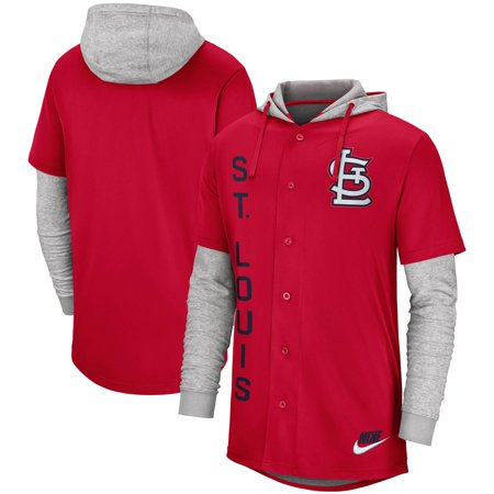 St. Louis Cardinals Nike Jersey Button-Up Hoodie - Red