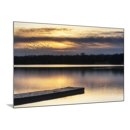 Stunning Spring Sunrise Landscape over Lake with Reflections and Jetty Wood Mounted Print Wall Art By Veneratio