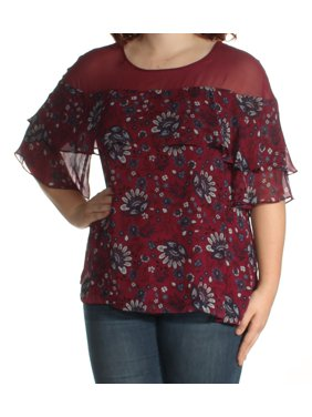 KENSIE Womens Burgundy Floral Short Sleeve Jewel Neck Top  Size: XL