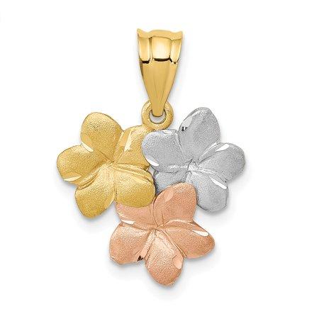 (14k Tri-color Gold Satin Triple Plumeria Pendant, 15mm (9/16 inch))