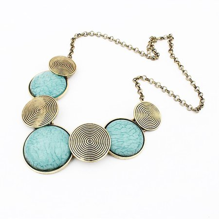 Women Girls Retro Round Pendant Necklace Pendant Sweater Chain Necklace - image 1 of 1