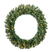 "Vickerman 516171 - 72"" Mixed Brussels Pine 600 Clear Lights Christmas Wreath (D172573)"
