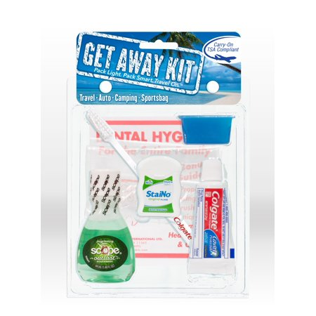 Get Away Kit - Travel Size Toothpaste, Toothbrush, Floss and Mouthwash Dental Hygiene Kit ()