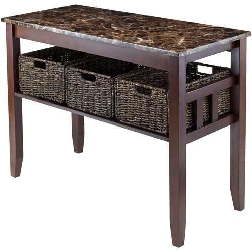 Winsome Wood Zoey Faux Marble Top Console Table with 3 Storage Baskets, Walnut Finish: