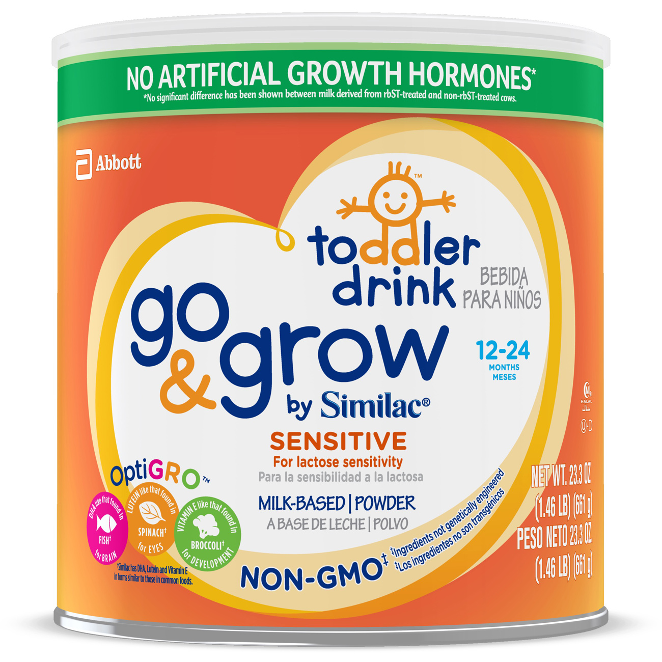Go & Grow by Similac Sensitive Non-GMO Milk Based Toddler Drink, For Lactose Sensitivity, 24oz (Pack of 4)