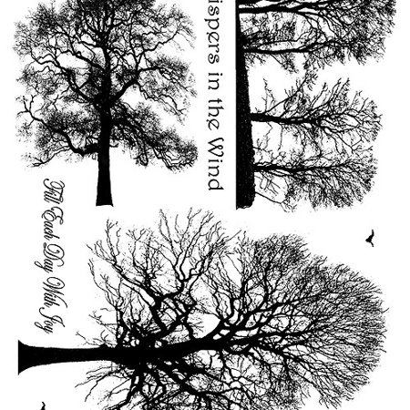 """Crafty Individuals Unmounted Rubber Stamp, 4.75"""" x 7"""", Winter Trees"""