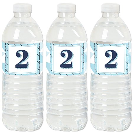 Two Much Fun - Boy - 2nd Birthday Party Water Bottle Sticker Labels - Set of 20