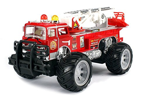 MFD Fire Off Road Rescue Electric RC Monster Truck Ready To Run RTR w  Adjustable Rescue Crane, Extending... by Velocity Toys