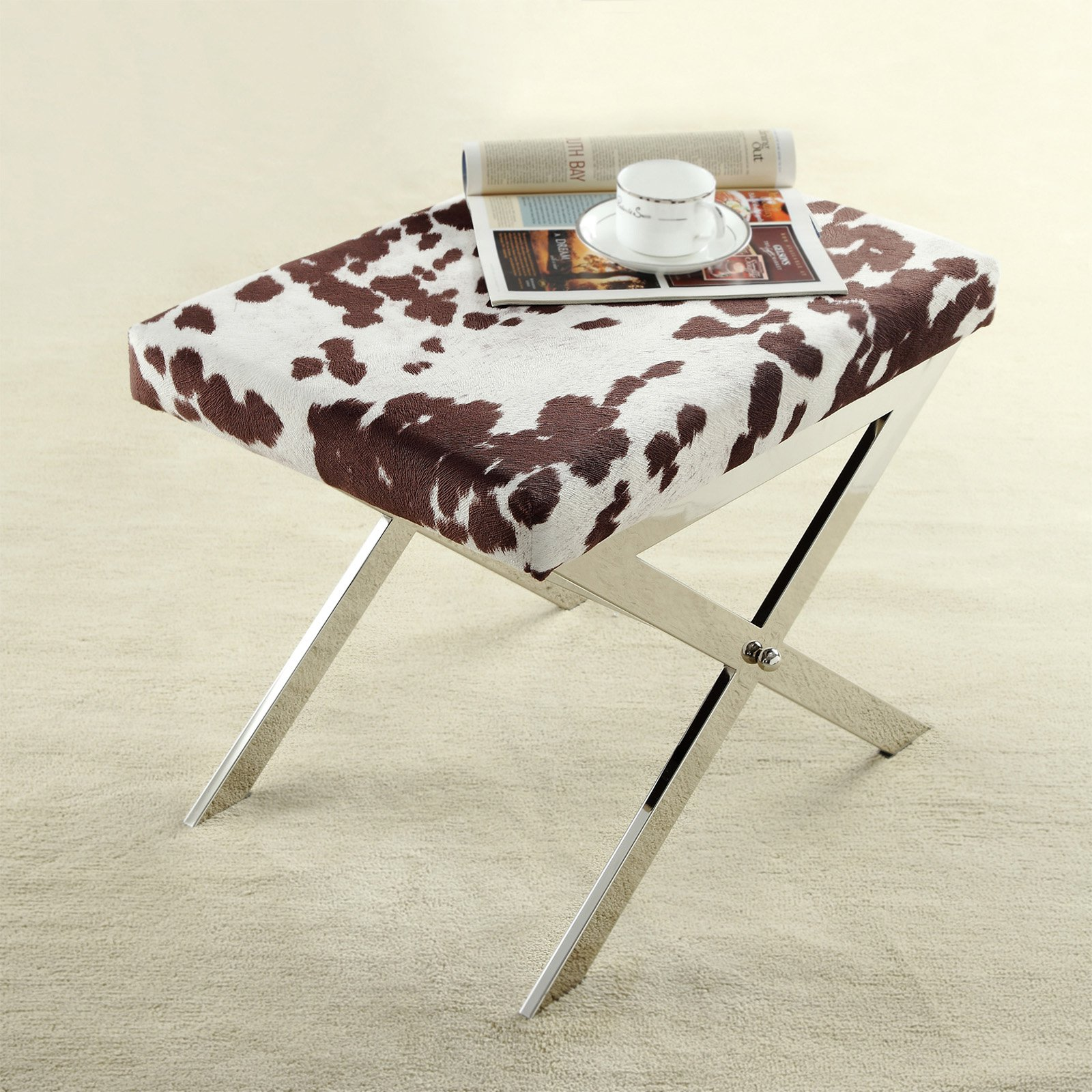 Chelsea Lane 22 in. X-Base Cow Hide Stool