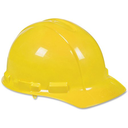3M Non-Vented Hard Hat with Ratchet Adjustment, Yellow