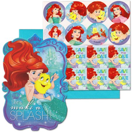 Disney The Little Mermaid Ariel And Flounder Girl Birthday Party Invitations 16 Count Save Date