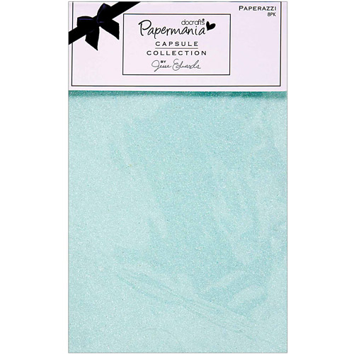 """Papermania Burleigh Blue Paperazzi Paper, 5.5"""" x 8.5"""", 8/Sheets, Glittered Solids, 3 Coordinating Colors"""