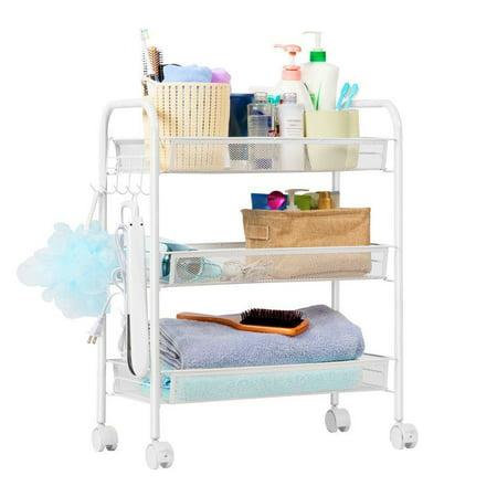 UBesGoo 3 Tier Shelving Rack Shelf Rolling Kitchen Pantry Storage Utility Trolley Cart with Hooks ()