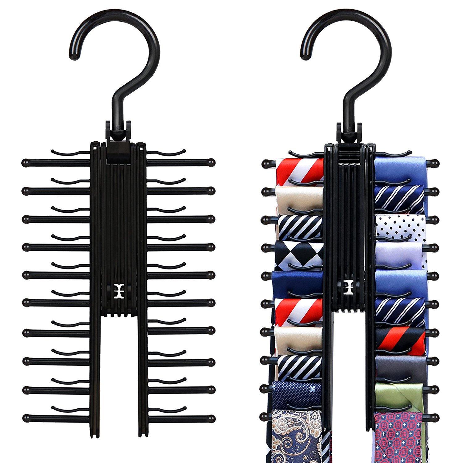 Tie Rack, IPOW Pack of 2 Tie Hanger w/ Belt Hooks Rotating Twirl Tie Rack Scarves Cross Hanger Holder for Closet Organizer Belt Storage Holds 20 Neck Ties, Black