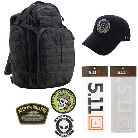 5.11 Kits Rush 72 Backpack, Hat, Patches, and Decals Set - Army/Military and Tactical Gear Pack - Black