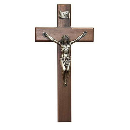 CB Catholic W36P12 12 in. Walnut Crucifix Shroud, Pewter