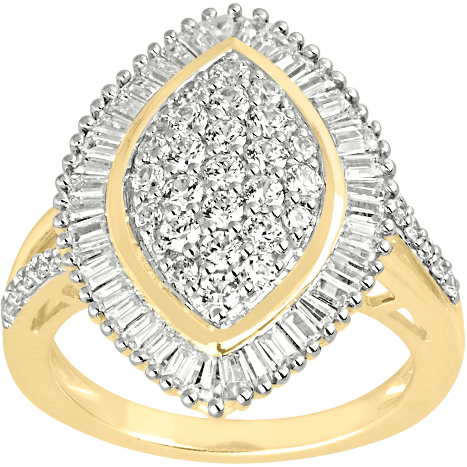 1-1/4 Carat T.W. Diamond 10kt Yellow Gold Important Statement Ring