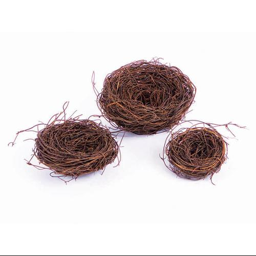 Set of 3 Hand-Made Artificial Brown Angel Vine and Twig Bird Nest Decorations