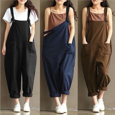 - Women Casual Linen Pants Cotton Jumpsuit Strap Harem Trousers Overalls US Stock