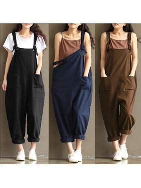 bb2f82f6ef9a Product Image Women Casual Linen Pants Cotton Jumpsuit Strap Harem Trousers  Overalls US Stock