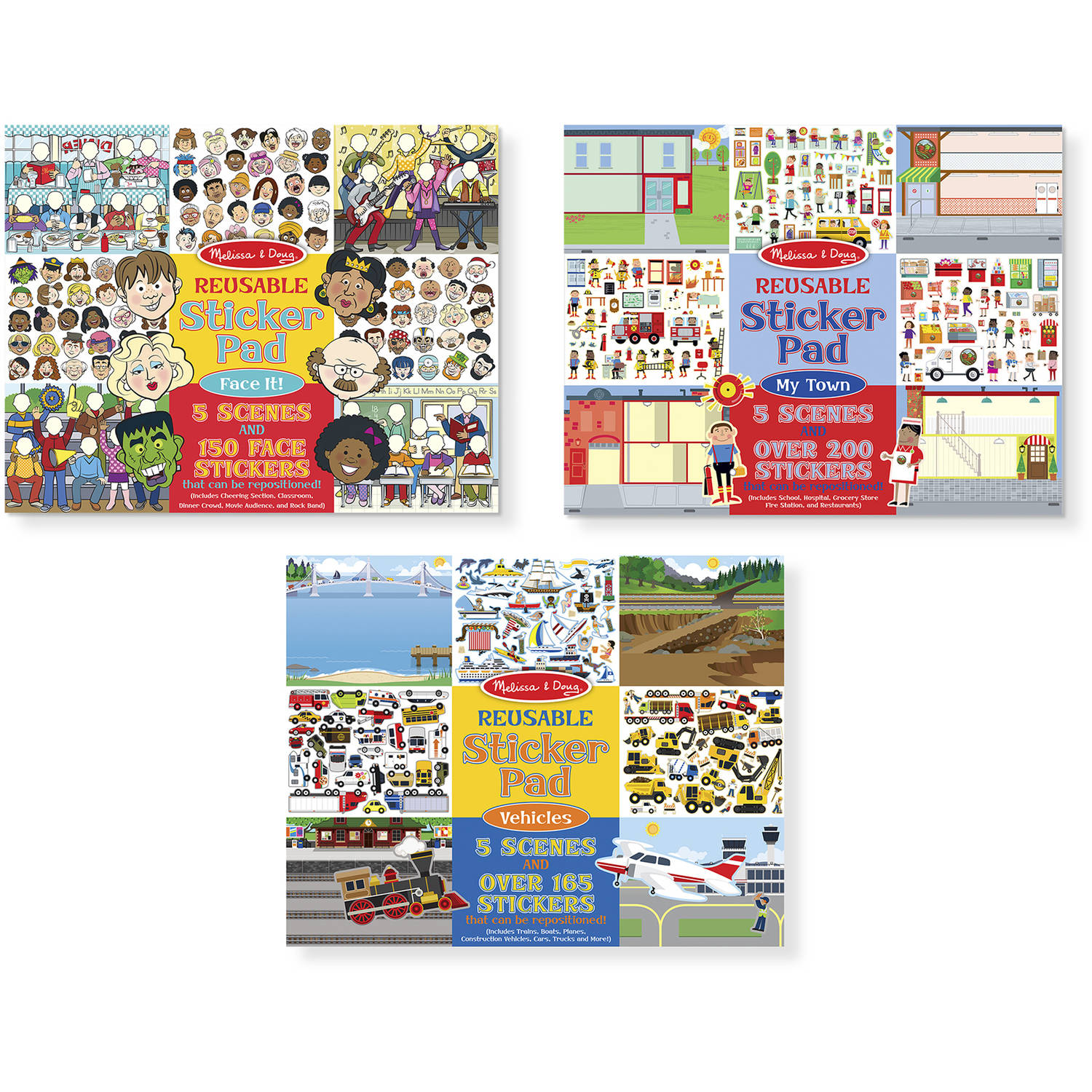 Melissa and Doug Reusable Sticker Pads Set, Face It!, My Town and Vehicles